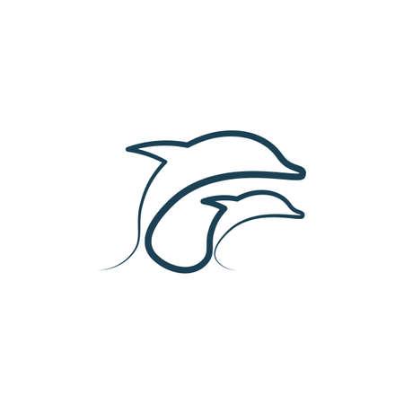 dolphins line icon vector illustration Illustration