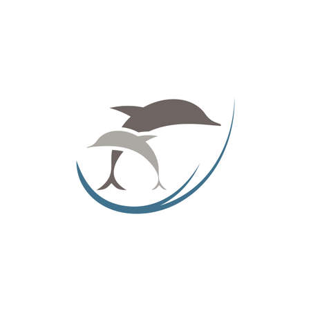dolphins in ocean jumping logo icon vector