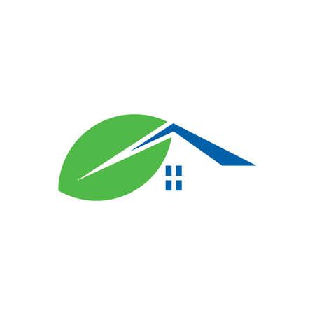 leaf house logo design vector icon symbol