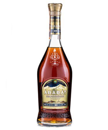 bratislava, SLOVAKIA, august 20, 2019 : ararat ten years old armenian brandy