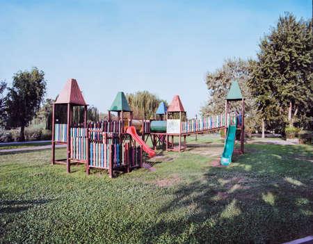 City park scene with children's playground