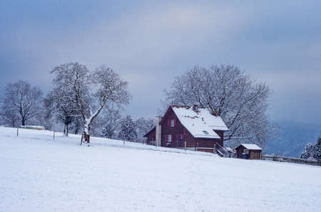 Winter snowy landscape with farm house  trees and cloudy sky Stok Fotoğraf