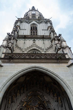 Cathedral of Bern city Switzerland low angle view point overcast summer day