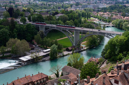 Bern city Switzerland aerial view of Aarau Aare river summer day Banque d'images