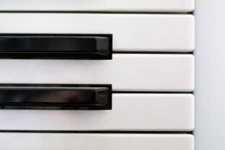 Close up shot of horizontally aligned piano keys black and white top view 2020