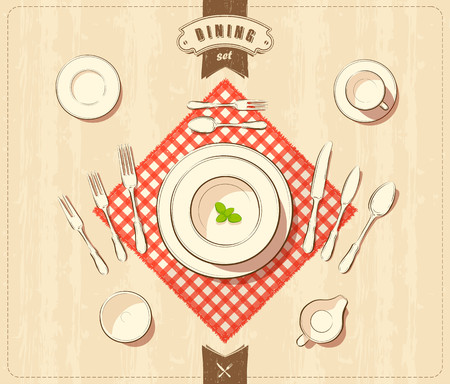 drawing table: Vector illustration of tableware
