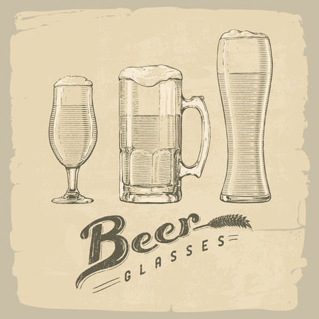 types of glasses: Vector handdrawn illustration of three types of beer glasses