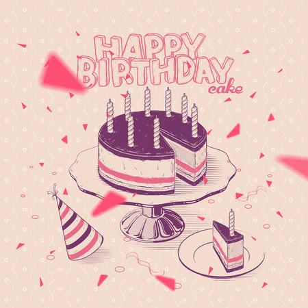 urodziny: Vector handdrawn Ilustracja Tort urodzinowy ze świecami Ilustracja