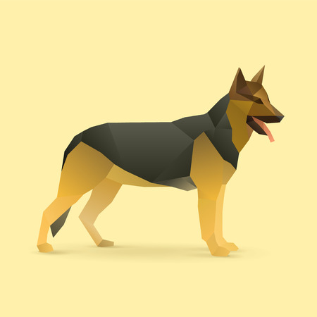 alsatian: polygonal illustration of german shepherd