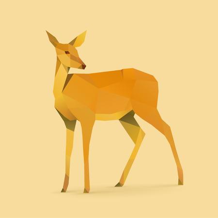 deer stand: polygonal illustration of doe Illustration
