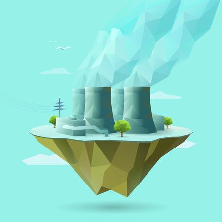 polygonal illustration of nuclear power Illustration
