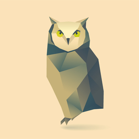 origami bird: polygonal illustration of owl