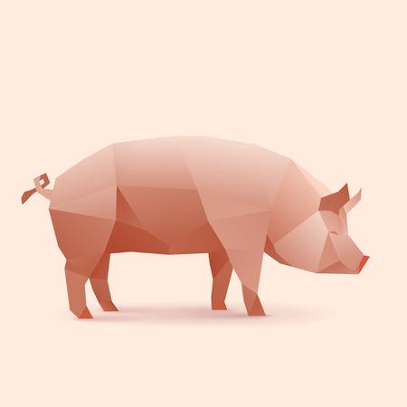 polygonal illustration of pig 일러스트