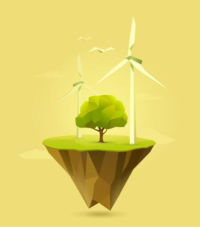 energías renovables: ilustración poligonal de la energía eólica