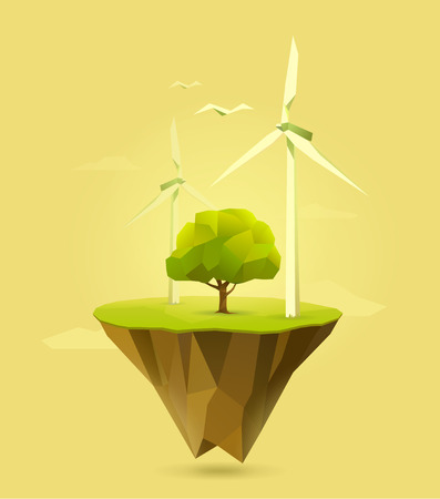 eco power: polygonal illustration of wind power