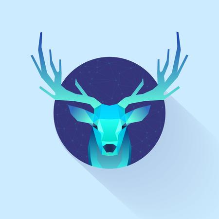 deer stand: polygonal illustration of deer in circle