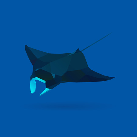 polygonal illustration of manta 矢量图像