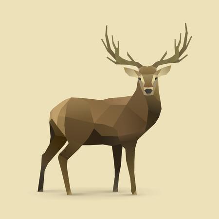 venado: ilustraci�n poligonal de ciervos Vectores