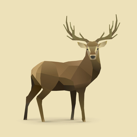 reindeers: polygonal illustration of deer Illustration