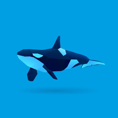 polygonal illustration of orca