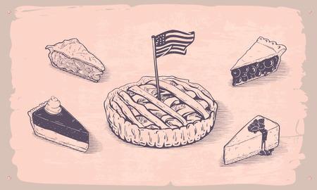 Vector hand getrokken illustratie van de Amerikaanse pies Stock Illustratie