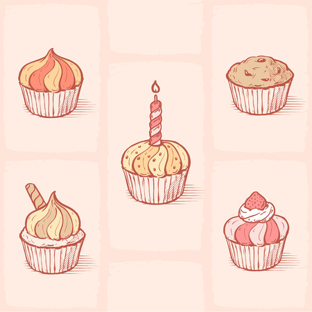 Vector illustration of cupcakes