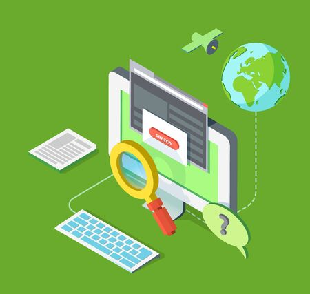 checkout line: isometric illustration of searching on web Illustration