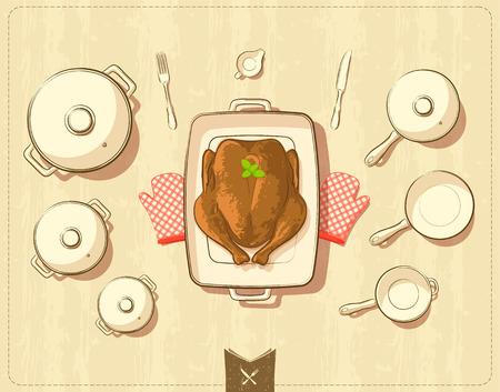 utensilios de cocina: Ilustración del vector de ollas y utensilios de cocina con pollo asado