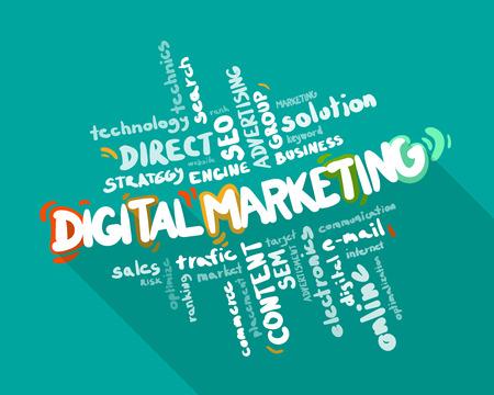 デジタル マーケティングの単語の雲、ビジネス コンセプト