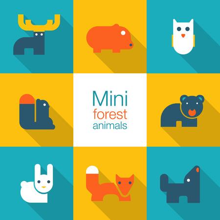 animales del bosque: conjunto de iconos de animales del bosque