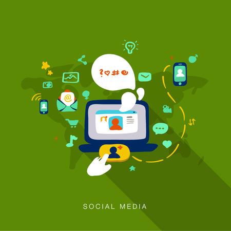 Flat design vector illustration concept of web development of social media Vector