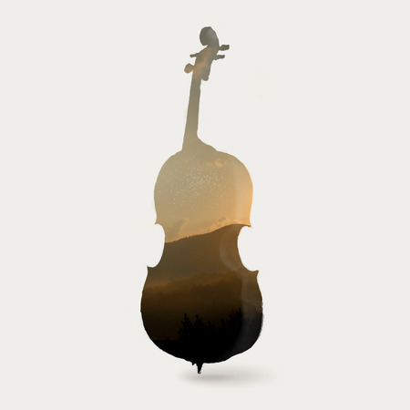 Double exposure illustration of a cello and sunset