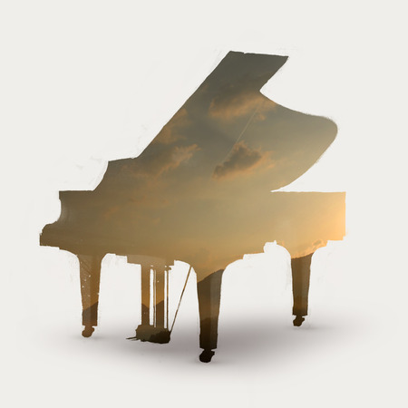 Double exposure illustration of piano and sunset