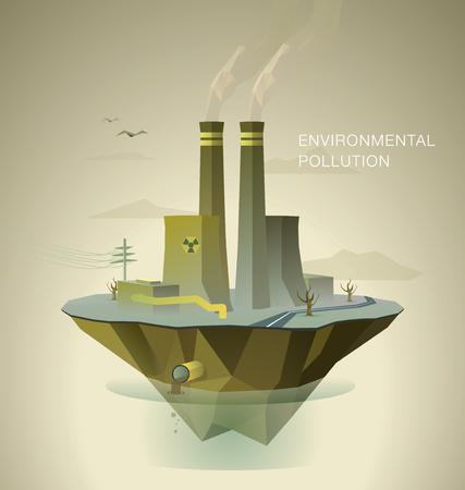 contaminacion del agua: ilustración poligonal del aire y la contaminación del agua con árboles muertos y fábrica en la isla Vectores
