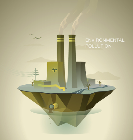 deforestation: polygonal illustration of air and water pollution with dead trees and factory on island