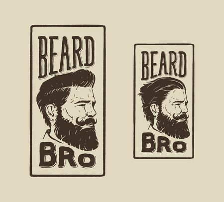 barbero: mano logotipo del vintage dibujado de peluquer�a con la barba estilo de pelo y bigote Vectores