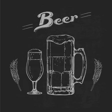 advertising board: illustration of beer glasses on blackboard