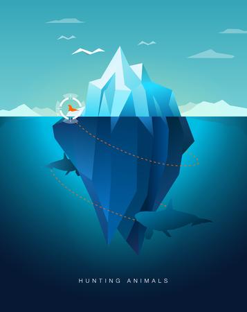 killer: killer whale hunting seal around iceberg
