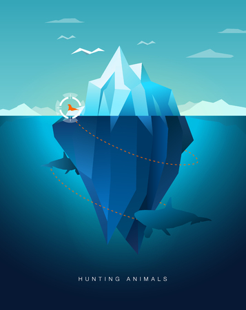 underwater: killer whale hunting seal around iceberg