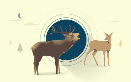 mating: polygonal illustration of deer and doe couple in love