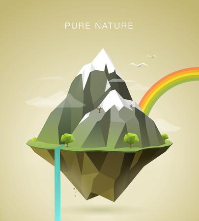 veelhoekige illustratie van bergen met sneeuw op de top wolken bomen waterval en een regenboog op het eiland