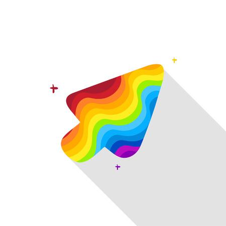 Arcobaleno cursore a freccia con una lunga ombra Archivio Fotografico - 39677374