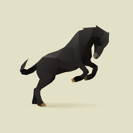 horses: polygonal illustration of black horse Illustration