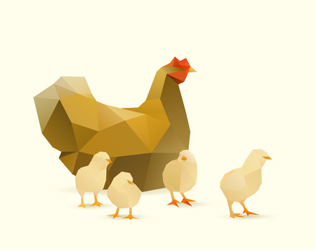 polygonal illustration of chicken witch chicks 矢量图像
