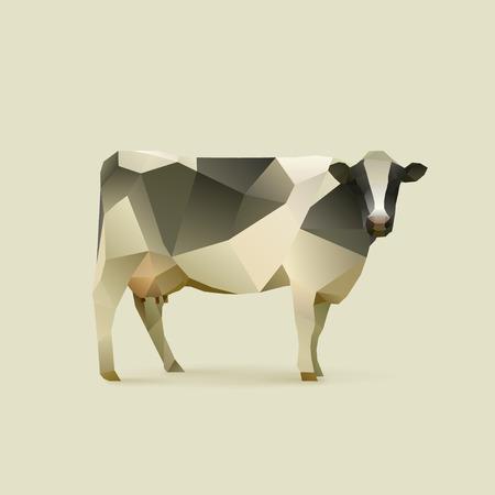 animales granja: ilustración poligonal de vaca