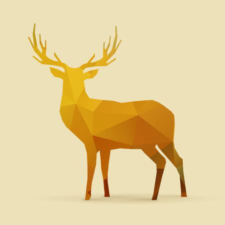 reno: pol�gono ciervos naranja dorada silueta