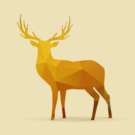 renna: poligono di cervo arancio dorato silhouette Vettoriali