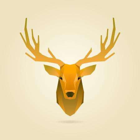 polygonal illustration of deer portrait Çizim