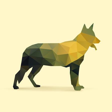 perro policia: polígono perro silueta ilustración vectorial