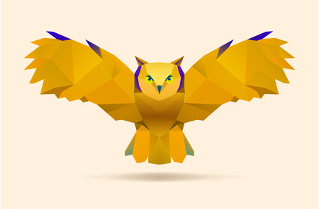 owl illustration: polygonal illustration of flying owl vector